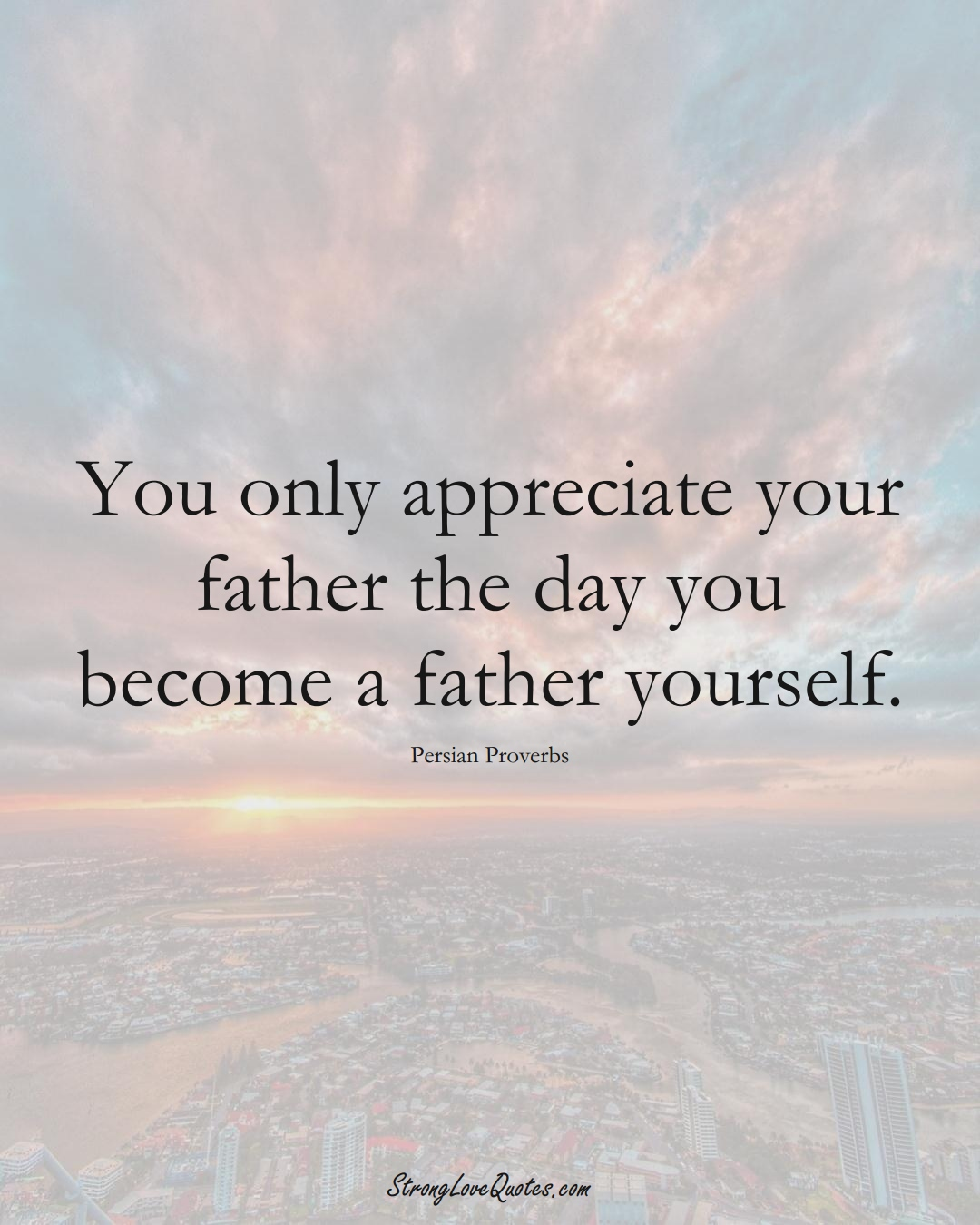 You only appreciate your father the day you become a father yourself. (Persian Sayings);  #aVarietyofCulturesSayings