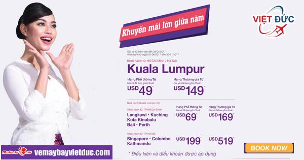 khuyến mãi lớn giữa năm vé đi Kuala Lumpur chỉ từ 49 USD từ Malindo Air