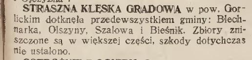 klęska gradowa gorlickie Szalowa Blechnarka Olszyny 1931