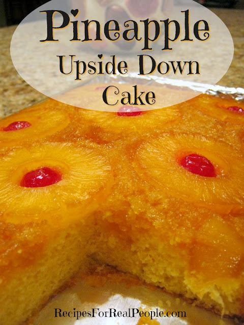 This Pineapple Upside Down Cake recipe uses a cake mix, butter, brown sugar, and pineapple slices. Maraschino cherries optional. Easy and delicious!