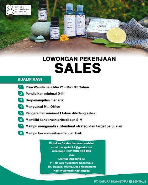 Lowongan Kerja Sales di PT Natura Nusantara Essentials