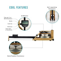 WaterRower A1's S4 monitor, image, displays timer per 2 or 500 kms, watts, distance, total time, calories