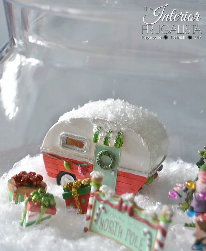 Retro North Pole Christmas Diorama Vintage Camper