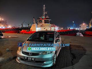 Ekspedisi FARHIYAtrans kirim mobil Honda Jazz NoPol DR 1858 MZ dari Mataram Lombok ke Jakarta door to door dengan kapal roro dan driving melalui Pelabuhan Tanjung Perak Surabaya, estimasi perjalanan 3-4 hari.
