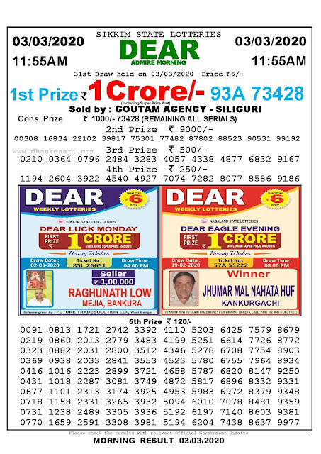Sikkim State 03-03-2020 Lottery Sambad Result 1155 AM