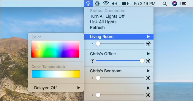 التحكم في الأضواء والألوان باستخدام Color for Hue.