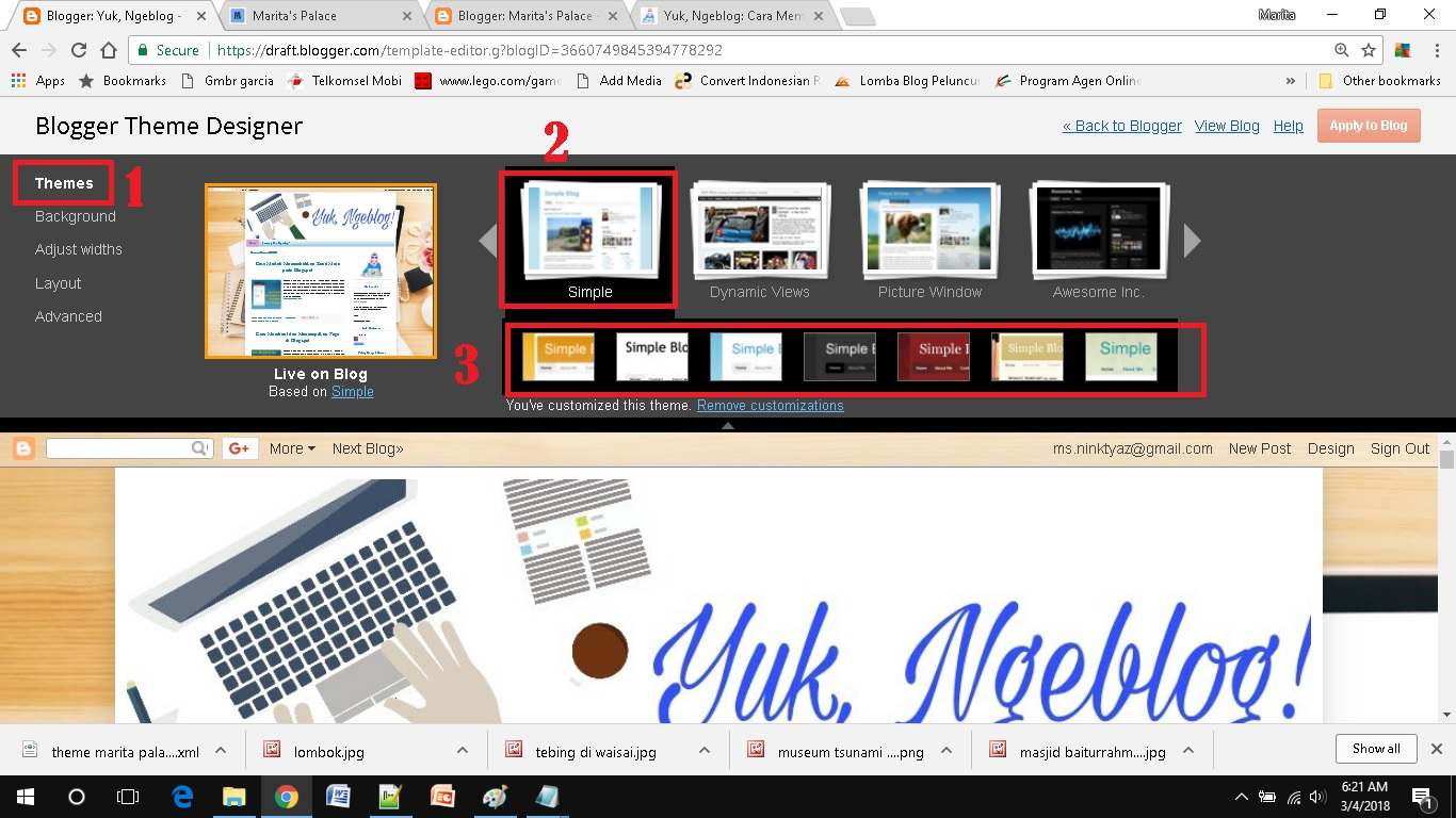 mendesain template blog sederhana masuk customize