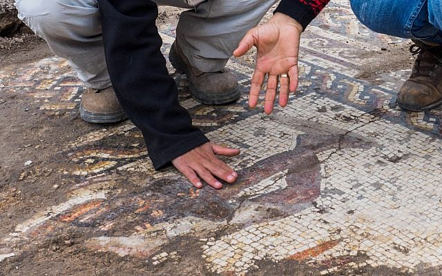 1,800-year-old mosaic multicoloured mosaic uncovered at Caesarea