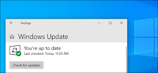 زر البحث عن تحديثات لـ Windows Update في Windows 10's May 2019 Update