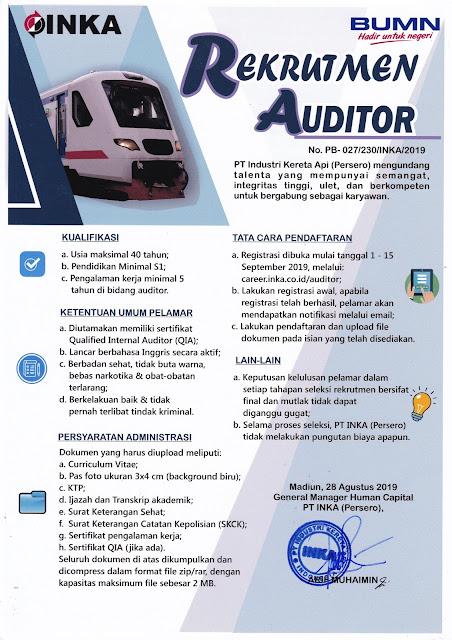 Lowongan Kerja Auditor PT Industri Kereta Api (Persero)