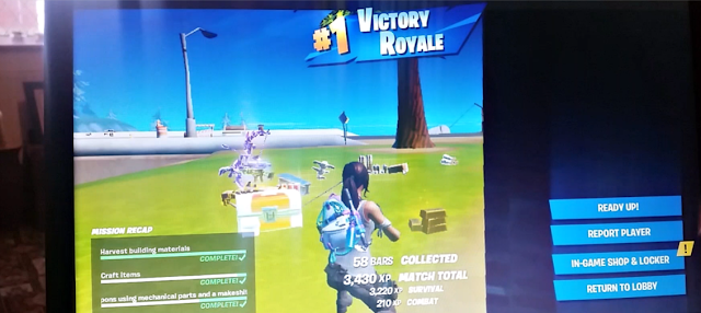 A win in the game Fortnite.