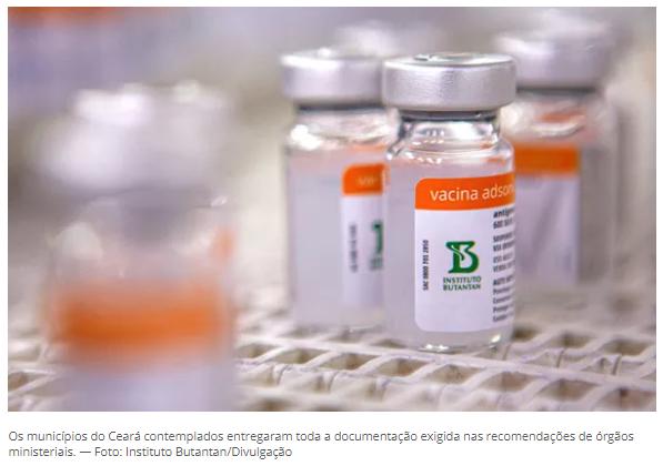 Cariré está na lista das cidades com vacinação contra Covid-19 atrasada que vão receber 2ª dose de Coronavac nesta quarta (19)