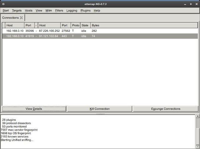 Графическая оболочка Ettercap NG 0.7.4