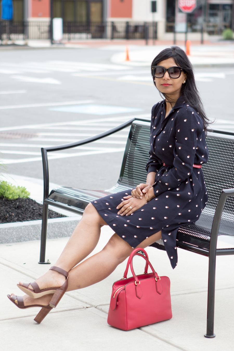 office style, work style, career woman, dress for success, corporate fashion, 9 to 5 style, office style, work wear, women's wear, petite fashion, ann taylor, block heels, brown sandals, satchel, red satchel, bright accents, off to work