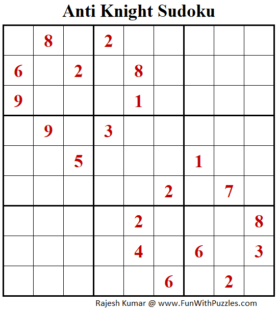 Anti Knight Sudoku Puzzles (Fun With Sudoku #299)