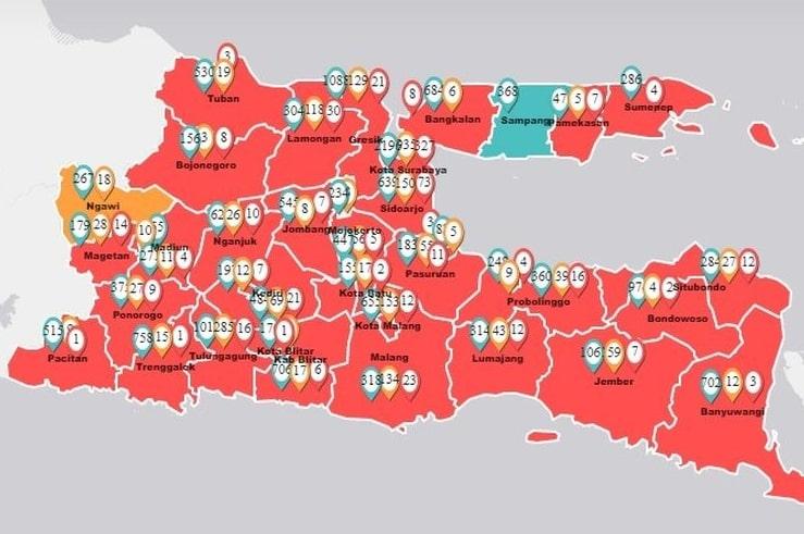 UPDATE Cоrоnа dі Jatim: 690 Kasus Pоѕіtіf, Sаmраng Satu-satunya Zona Hijau