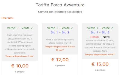 Tariffe Parco Avventura Bosco d'Alcamo