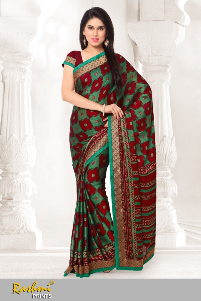 RISHI-VOL2 -Stylish Latest Fashion Designer Black silk with printed FAncy Saree
