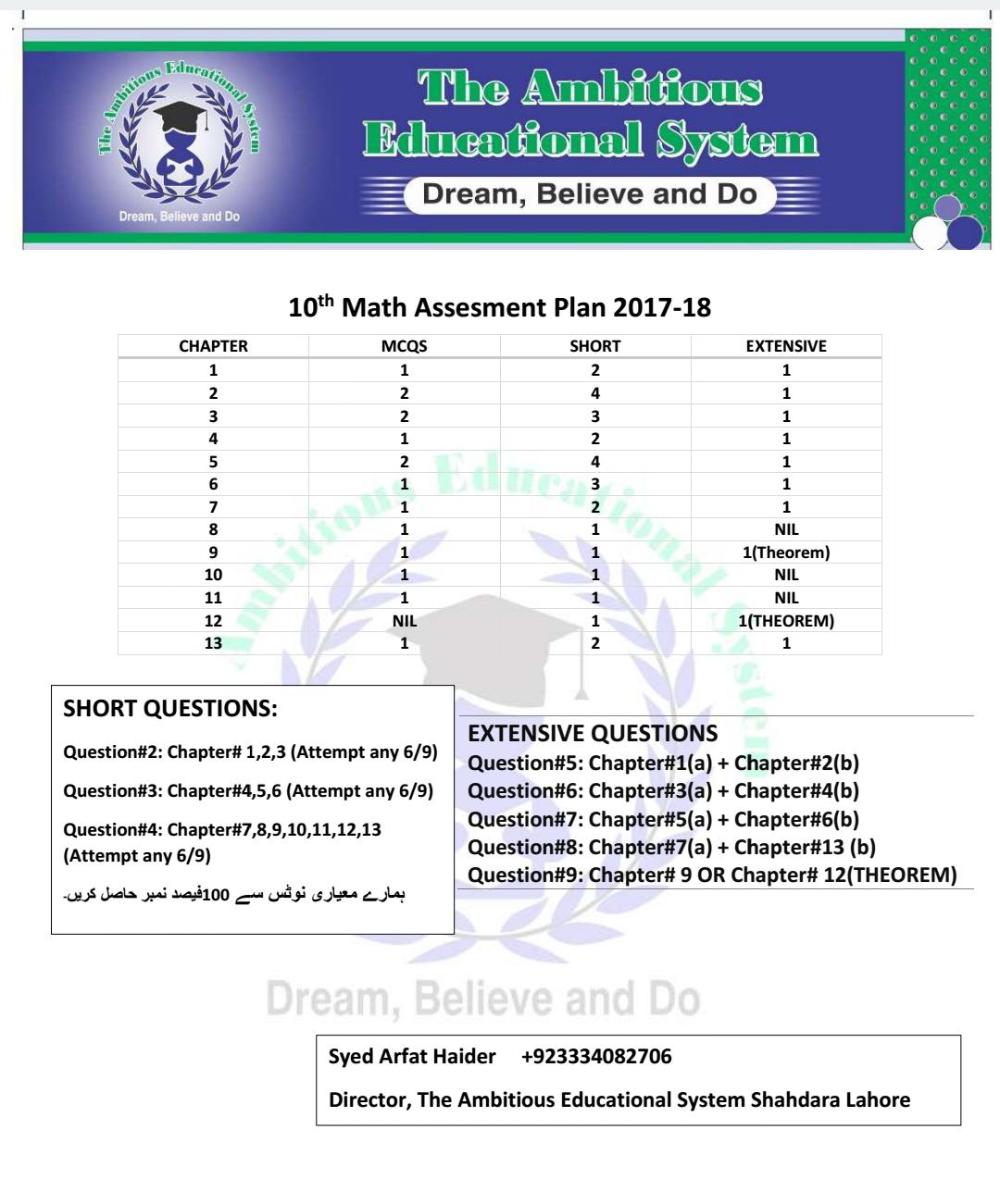 Matric 10th Maths Pairing Scheme 2018 - Assessment Scheme