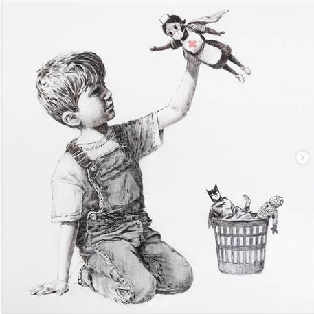 Opera di Banksy all'asta, battuta per 19,4 milioni di euro, ricavato in beneficenza