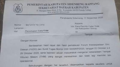 Hiraukan Surat Penutupan THM,  Pemkab Sidrap Akan Tutup Paksa