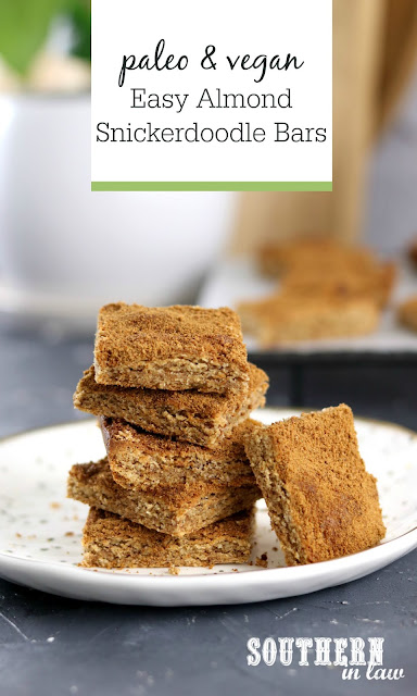 Paleo Vegan Almond Snickerdoodle Bars Recipe - gluten free, grain free, paleo, egg free, dairy free, clean eating, refined sugar free
