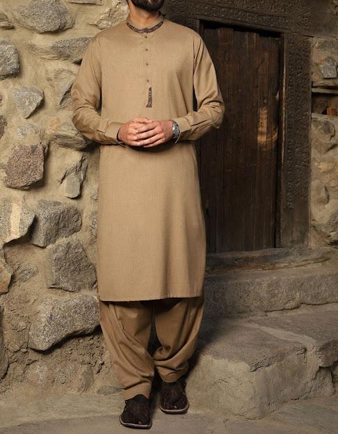 J. Junaid Jamshed brown color shalwar kameez men collection