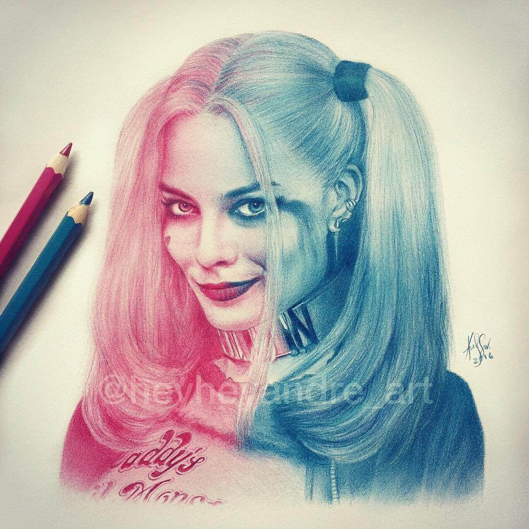 12-Harley-Quinn-A-Manguba-Drawings-of-Celebrities-and-the-Zodiac-www-designstack-co