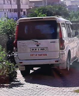 एक्शन में ट्रेफिक पुलिस  'हरियाणा सरकार' लिखी स्कोर्पियों पुलिस ने की इंपाऊंड