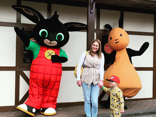 Mummy and son with Bing and Flop, from Cbeebies show