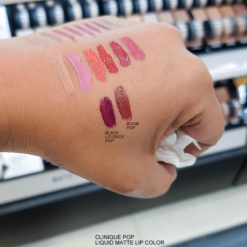 Clinique Pop Liquid Matte Lip Colour + Primer - Swatches  Black Licorice - Boom