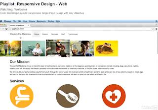 A screenshot from Lynda.com showing a video tutorial on responsive web design.