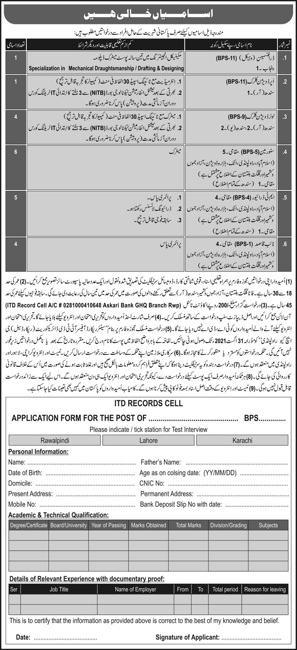 PAk Army ITD Records Cell Jobs 2021 For Draftsman, Super Division Clerk, Lower Division Clerk