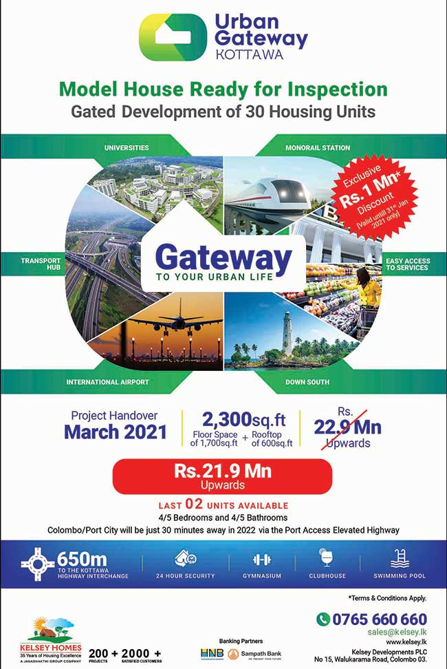 Urban Gateway Kottawa by Kelsey Homes : Only Last 2 Units : Exclusive Rs 1 million discount.
