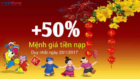 Mobifone khuyến mãi 50% giá trị thẻ nạp ngày 20-1