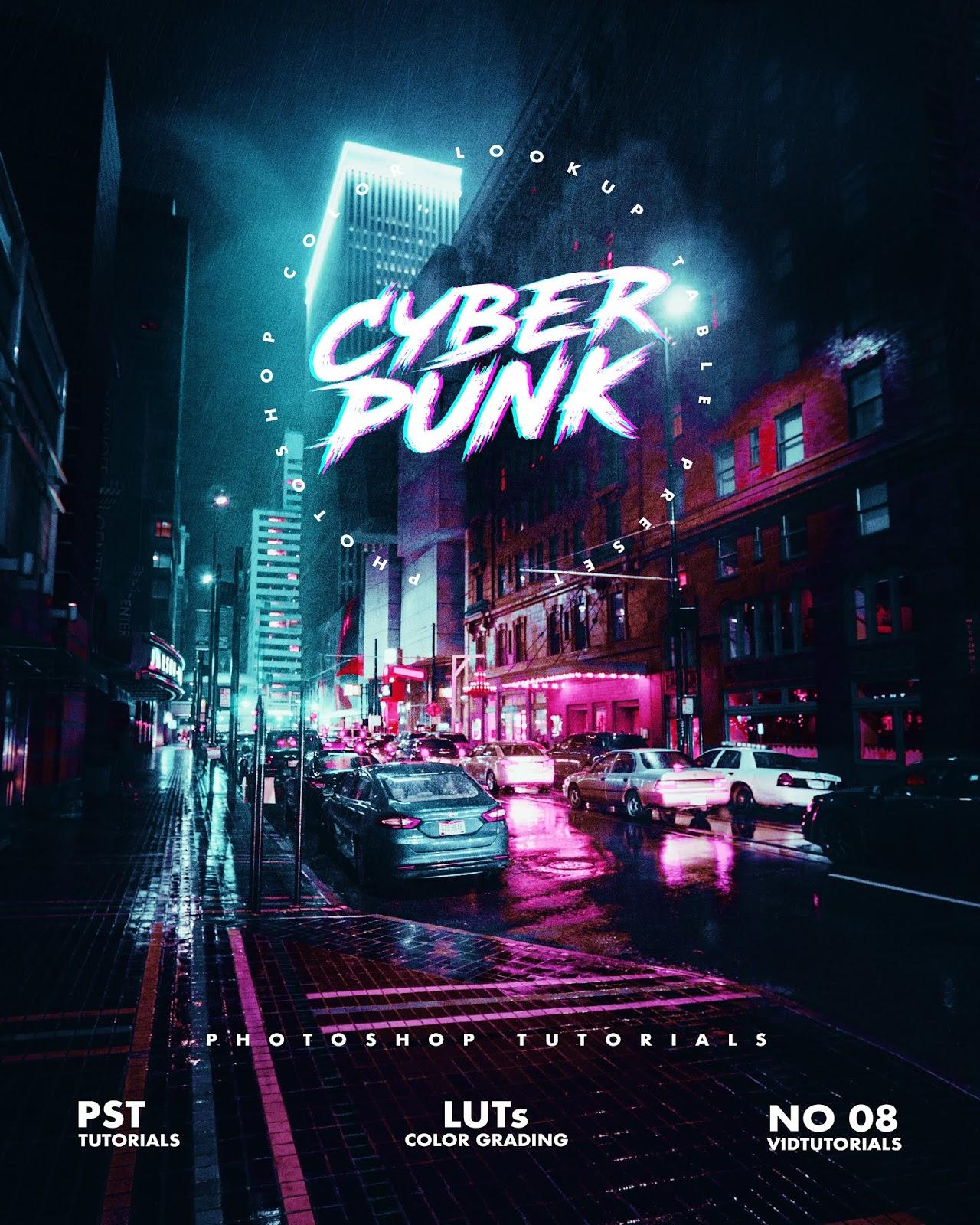 Free Download Cityscape Cyberpunk Effect project - PSD File