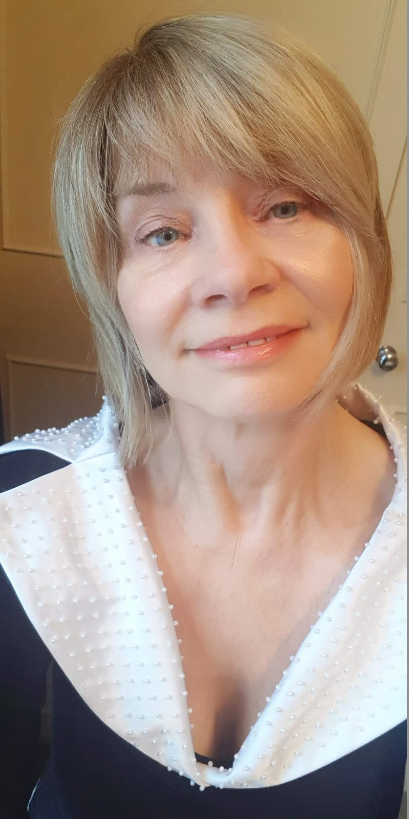 Over-50s blogger Gail Hanlon from Is This Mutton with the finished result of a thirty pound makeup spree to find bargain products needed for a party face.