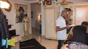 See Banky W On Set For Another Movie Role, Ex-BBnaija T Boss Joins Him On Set