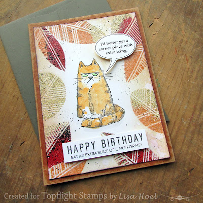 Lisa Hoel for Topflight Stamps - fall themed birthday card with Darkroom Door stencil and Katzelkraft Cats #creativejuicefreshsqueezed #topflightstamps