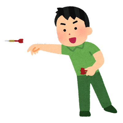 ダーツを投げる人のイラスト(男性)