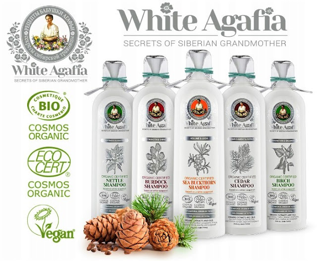 White Agafia organiczny szampon pokrzywowy miękkość i połysk