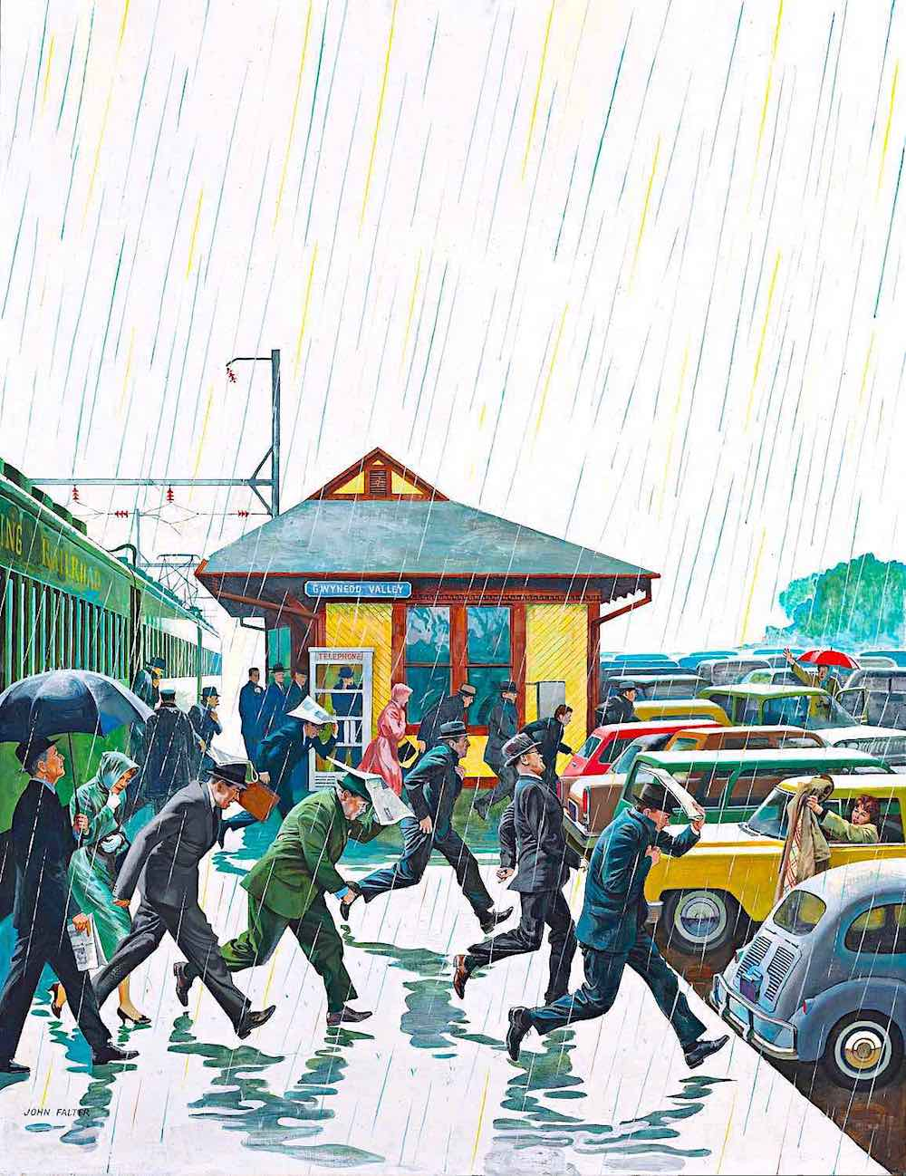 a John Falter illustration of commuters running from train to cars in the rain
