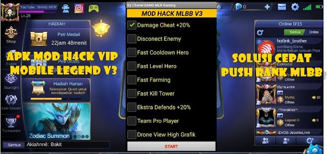 Apk Mod H4ck VIP Mobile Legend V3 Terbaru Solusi Cepat Push Rank MLBB
