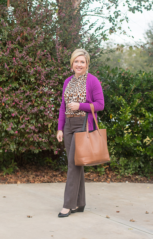 leopard print top, office outfit