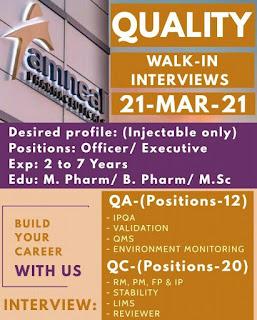B.Pharm/ M.Pharm/ M.Sc Experienced Job Vacancy Walk-in Interview For Quality Department Amneal Pharmaceuticals Pvt. Ltd. Ahmedabad, Gujarat