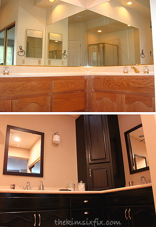 stained oak cabinets before and after linking up here 700