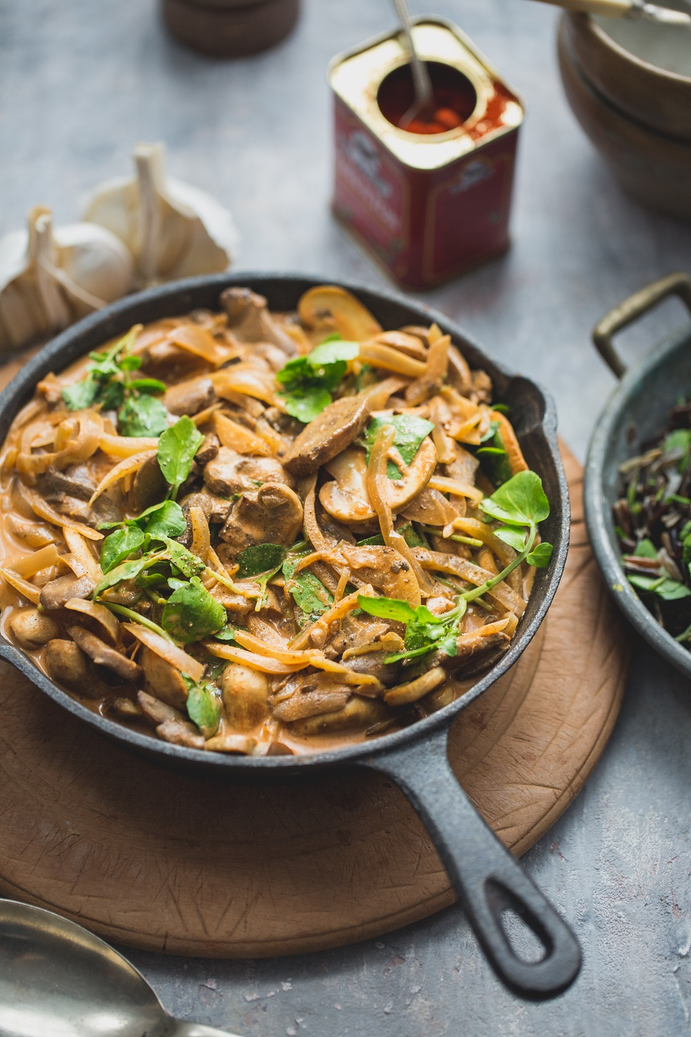 Chestnut Mushroom And Watercress Stroganoff With Giant Wild Rice