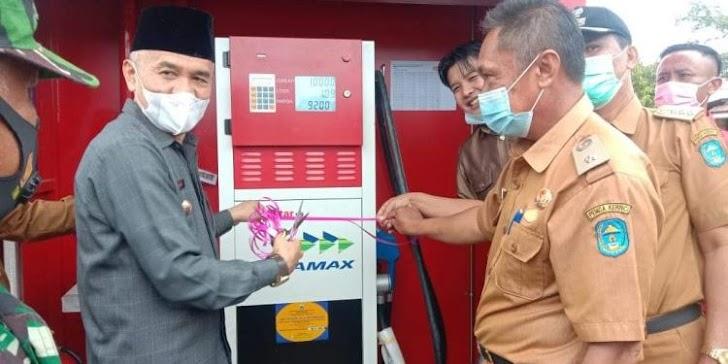 Bupati Adirozal Resmikan Pertashop Bumdes Koto Agung Mandiri