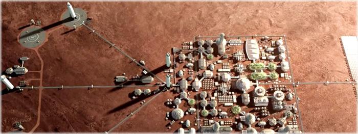imagens de futura colônia em Marte