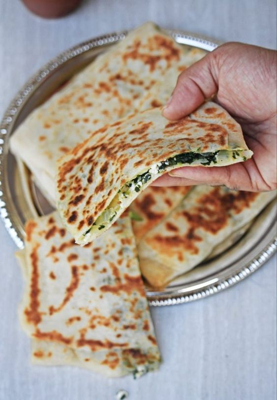 Gozleme | Turkish Spinach and Feta Flatbread #recipes #pizza #pizzarecipe #food #foodporn #healthy #yummy #instafood #foodie #delicious #dinner #breakfast #dessert #lunch #vegan #cake #eatclean #homemade #diet #healthyfood #cleaneating #foodstagram